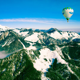 Alpes by Vladimir Firsov - Landscapes Mountains & Hills ( mountains, blue sky, sky, balloons, austria, Earth, Light, Landscapes, Views,  )