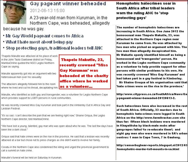 HOMOSEXUAL HATE CRIME THAPELO MAKUTLE WAS BEHEADED FOR BEING MsGayKuruman June132012