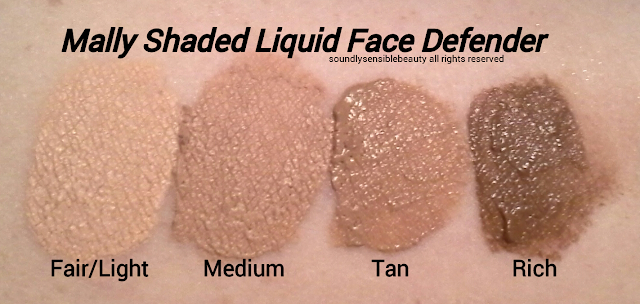 Mally Tinted Poreless Face Defender Swatches of Shades Fair/Light, Medium, Tan, Rich