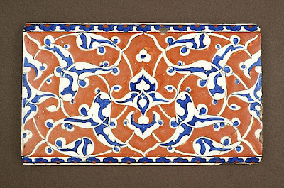 Tile | Origin: Turkey, Iznik | Period:  about 1580-90 | Collection: Bequest of Edwin Binney, 3rd, Turkish Collection (AC1995.124.1) | Type: Ceramic; Architectural element, Fritware, underglaze-painted, 9 3/4 x 6 in. (24.77 x 15.24 cm)