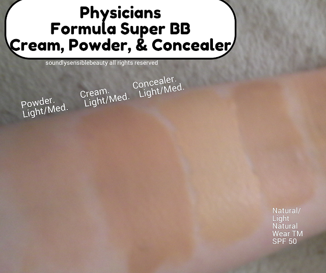 Physicians Formula Super BB All-in-1 Beauty Balm Cream SPF 30, Super BB All-in-1 Beauty Balm Powder (Pressed) SPF 30, Super BB All-in-1 Beauty Balm Concealer SPF 30, Review & Swatches of Shades Light/Medium