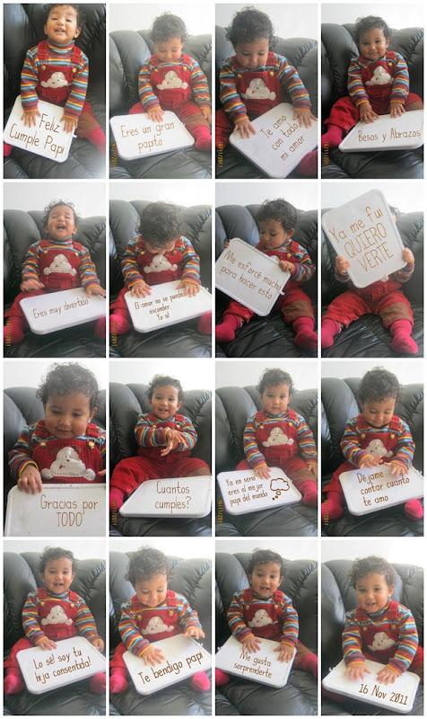 Tarjeta de cumpleaños hecha con una bebé un pizarrón blanco marcador y listo DIY