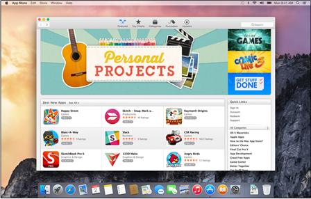 OS X Yosemite ruutukaappaus