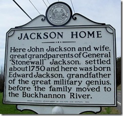 Jackson Home side of marker in Hardy County, WV