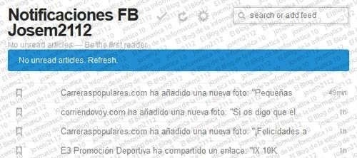 Notificaciones de Facebook por RSS - rss de notificaciones de fb agregado a feedly