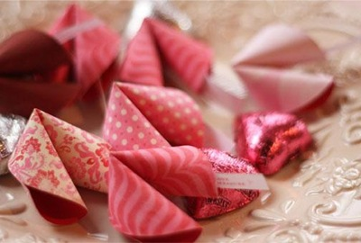 paper valentine fortune cookies