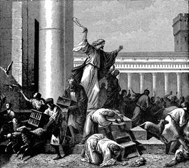 Jesus limpa o Templo (V. Gilbert e Arlisle F. Beers em VisualBibleAlive.com)