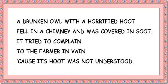 AN OWL WITH A HORRIFIED HOOT....