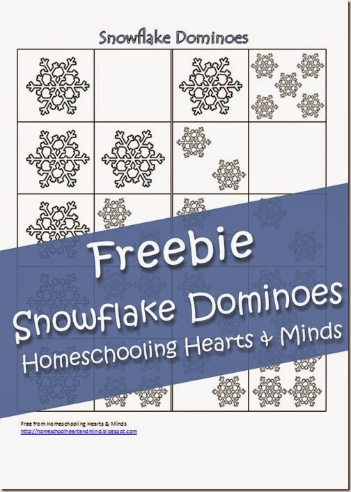 FREE Snowflake Dominoes Printable at Homeschooling Hearts & Minds