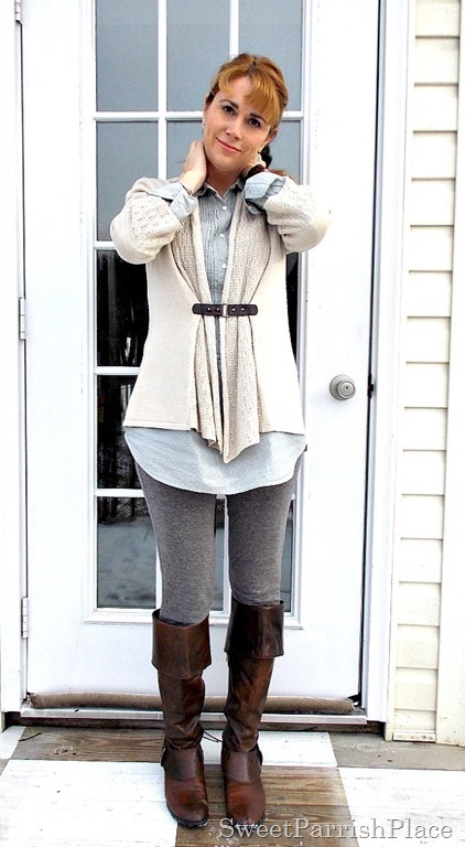 Grey leggins, blue tunic, tan cardigan, brown boots1