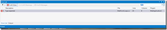 ErrorList Search in Visual studio 2012