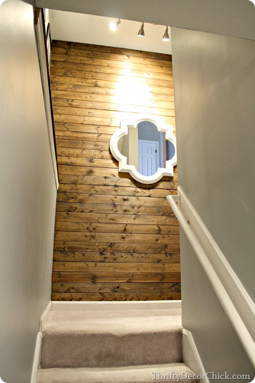 wood planked wall stained