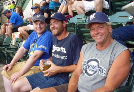 Kevin, Eric and Jeremy Potter at Brewer Game 7-22-13