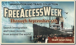 Ancestry.com Immigration and Travel Collection Free Access Week