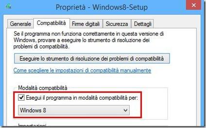 Eseguire Windows8-Setup in modalità compatibilità