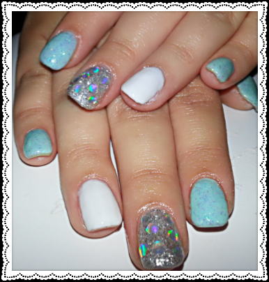 used mint green gel silver glitter gel white gel also bedazzled her