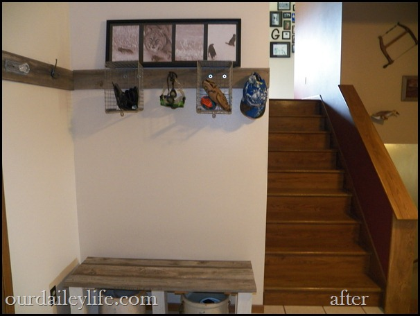 foyer, entry, barn board, hooks, locker baskets, bench, red wing crocks