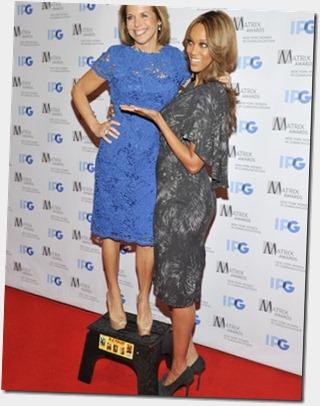 Katie Couric, Tyra Banks==<br />2012 Matrix Awards==<br />The Waldorf-Astoria, NYC==<br />April 23, 2012==<br />©Patrick McMullan==<br />Photo - RYAN MCCUNE/ PatrickMcMullan.com==<br />==