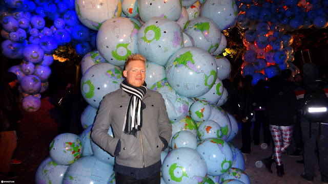 globes on display at Nuit Blanche 2014 in Toronto, Ontario, Canada