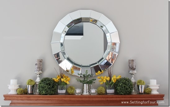 How to Decorate a Mantle for Spring: www.settingforfour.com #spring #mantle