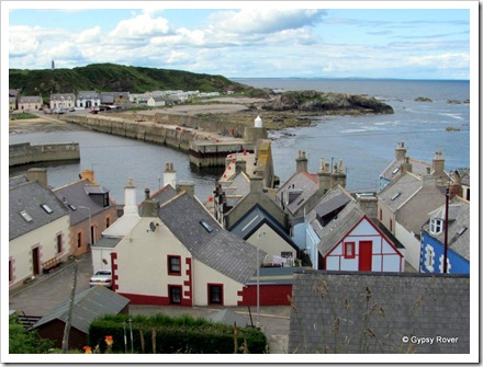 The old fisherman's cottages by the harbour entrance.