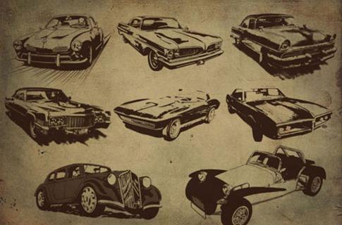 Pinceles de autos retro