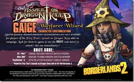 Borderlands 2 DLC Shift Code