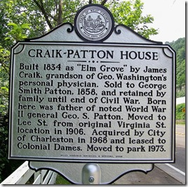 Craik-Patton House marker on U.S. Route 60 east of Charleston, WV