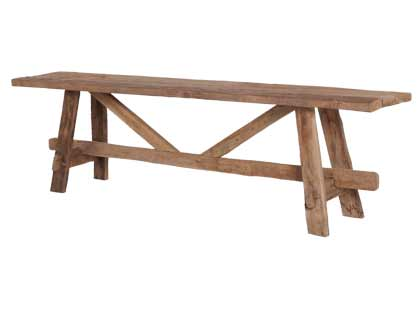 This bench feels like it belongs on the porch of the dining hall. At home, it would make an interesting and functional bench in a mudroom or kitchen. (jaysonhomeandgarden.com)