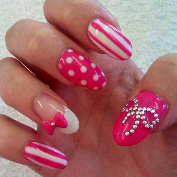 Nails Designs 2014 With Bows Acrylic Nail Designs W...