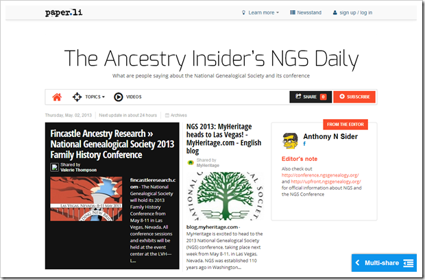 The Ancestry Insider's NGS Daily