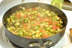 okra, tomatoes, onions