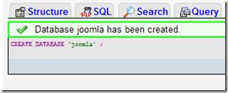 database joomla created
