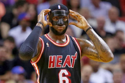 lebron james nba 140228 mia at nyk 01 LeBron Goes #BaneJames on the Knicks in Carbon Fiber Mask