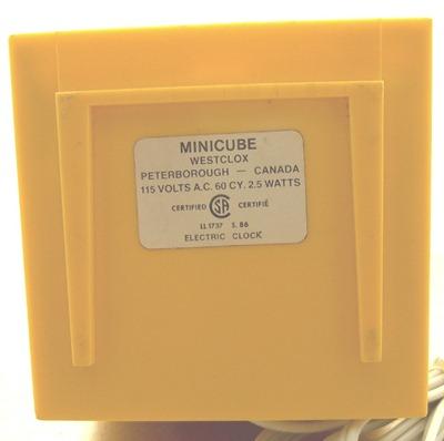 Westclox Minicube alarm clock, yellow