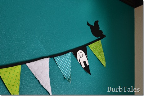Flag pennants with bird