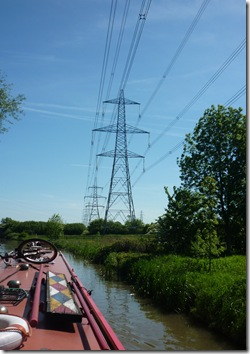 line of marching pylons