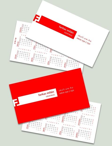tarjetas personales con calendario