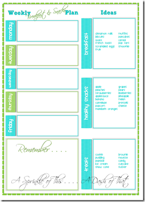 Breakfast and Snack Planner