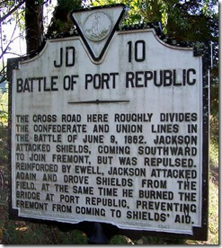 Battle of Port Republic marker JD-10 in Rockingham County, VA