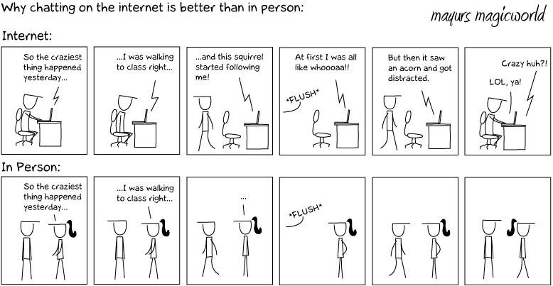 Why chatting on internet is better than in person