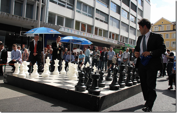 Opening of Biel Chess Festival - Hikaru playing on big chess board