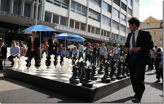 Opening of Biel Chess Festival - Hikaru playing on big chess board