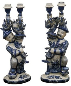 blue and white imperial guard porcelain candle holders