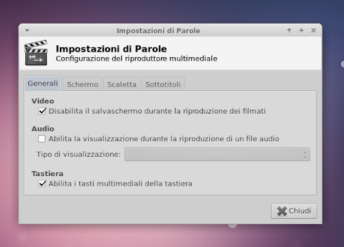 Parole Media Player 0.4.0 - preferenze