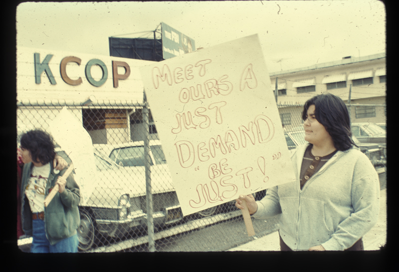 Concha (right) at  Mort Sahl Show picket at the KCOP studio. March 21, 1975