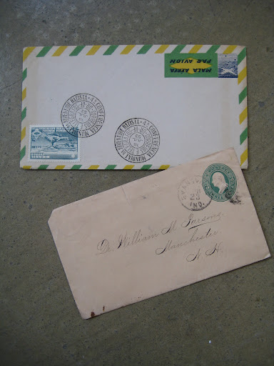 i love the airmail stripes seen here in green and yellow ( kind of unexpected) and on the second envelope we thought the embossed stamp (which is part of the actual envelope and not adhered separately) is pretty darn cool.