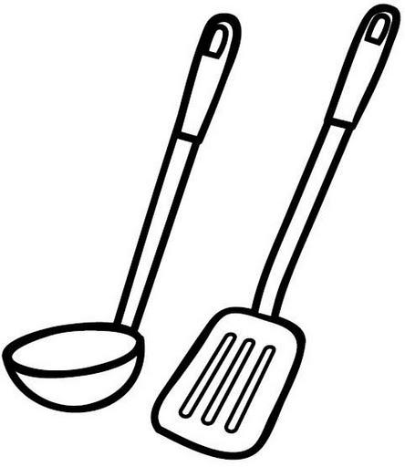 Utensilios de cocina para colorear for Utensilios y materiales de una cocina de restaurante