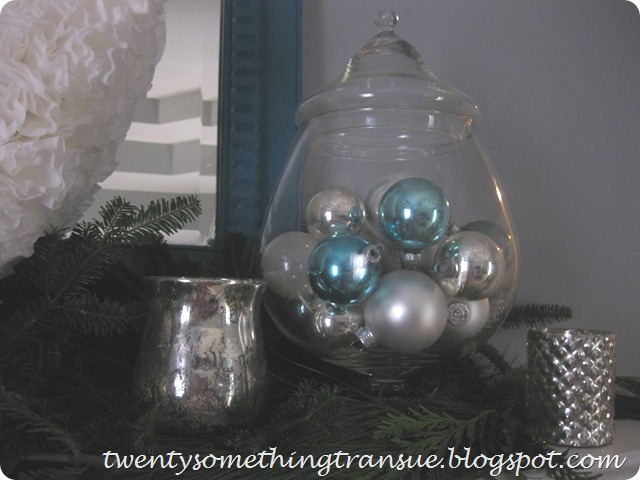 Blue and White Christmas Mantel 4