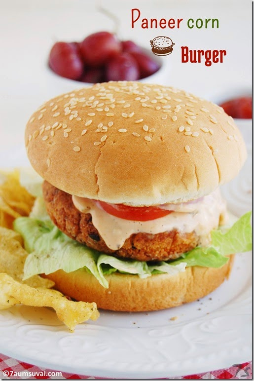 Paneer corn burger pic 1
